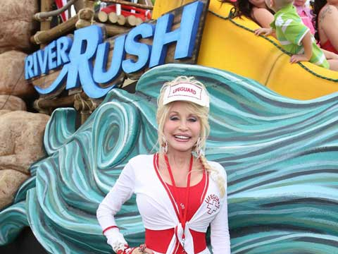Dolly rides on RiverRush float